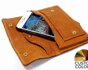 NEW iPhone X or 8 leather wallet Genuine Leather Sleeve for use as a belt pouch credit cards col CHOOSE