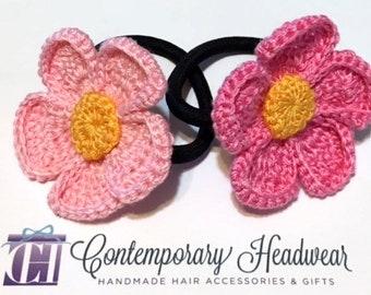 Crochet Flower Ponytail Holder, Girl's Ponytail Holder, Women's Ponytail Holder, Crochet Hair Tie, Crochet Elastic, Toddler Hair Tie, Pink