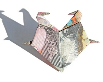 Origami Heart with Two Swans - Money Origami Gifts, Origami Bird, Dollar Bill, Origami Decoration