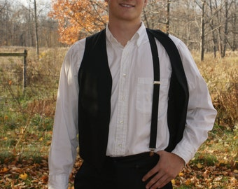 Amish costume clip on suspenders Y back black Ships same day!