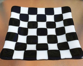 Checkered Fused Glass Plate