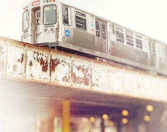 Chicago Art, Train Photography, Wall Art Print, Chicago Photograph, Rogers Park, CTA Red Line, Boys Room, Urban Home Decor, Nursery Artwork