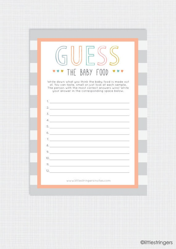 Instant Download Printable Illustrated Baby Shower Game Baby