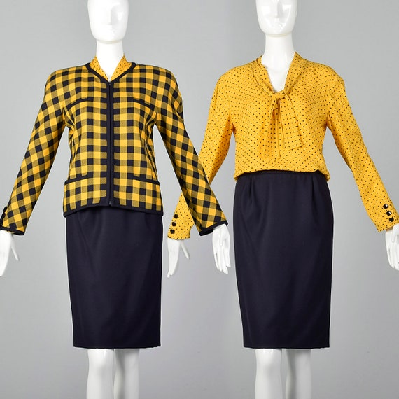 Set Valentino Yellow XS Zip Jacket Pencil 80s Blouse Set Long Bow Pussy Sleeve Boutique Three Skirt Vintage Piece Front Navy 1980s xS5U5Yqw1