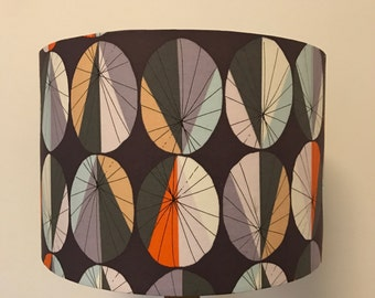 Dark Purple Lamp Shade with Colourful Irregular Ovals. Also available in white