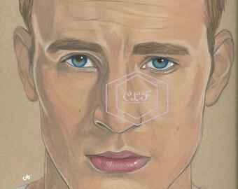 Captain America Steve Rogers Chris Evans Drawing