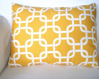Yellow White Lumbar Pillow Cover,  Decorative Pillow Cushion Covers Yellow White Gotcha Lumbar, Throw Pillow, Couch, One 12 x 16 or 12 x 18