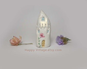 Shimmery Ivory Glitter Spring clay house,miniature house,tiny clay house,small house,little ceramic house,fairy house,housewarming gift