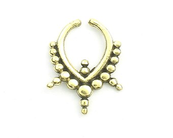 Faux Septum Ring, Fake Septum Ring, Faux Nose Ring, Non Pierced Septum, Modern,Tribal, Body Jewelry, Triangle Septum Ring