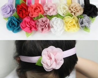 13x Girls Kids Toddler Chiffon Flower Elastic Head Hair Band Multicolor Assorted