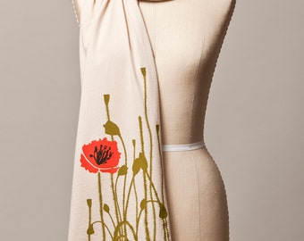jersey knit scarf, screenprint scarf, summer poppy scarf, poppy screenprint, poppy print