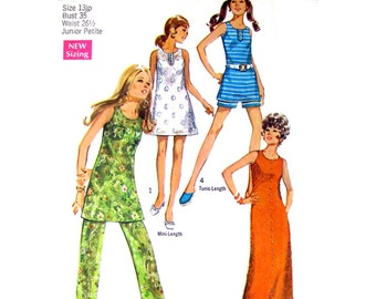 Mini Dress, Maxi Dress, Shorts, Pants Pattern Simplicity 8757 Beach Dress Cover-Up Bust 35 Junior Petite Vintage Sewing Pattern