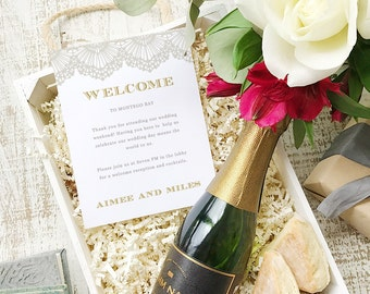 Wedding Welcome Note, Printable Wedding Welcome Bag Letter, Thank You, Lace, Itinerary, Agenda, Hotel Card - INSTANT DOWNLOAD