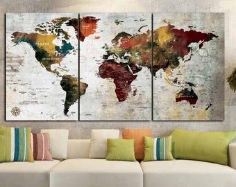 Large 3 Panel World Map Canvas ArtWorld MapWorld Wall Art