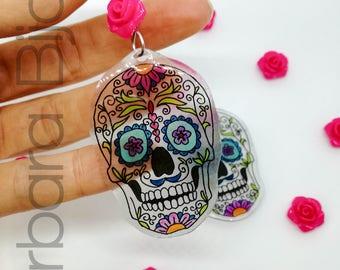 Day of the dead-jewelry earrings-Mexican skull-Women's earrings-Halloween skulls-transparent polyshrink.
