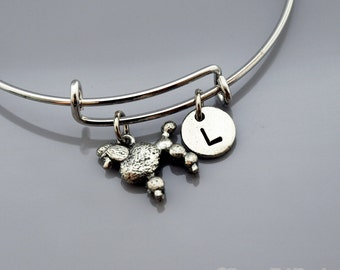 Poodle charm bangle, Poodle bracelet, Silver poodle charm jewelry, Expandable bangle, Personalized bracelet, Charm bangle, Initial bracelet