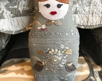 Matryoshka Russian Doll, Babushka Fabric Pillow, Shabby Chic, Rustic Style