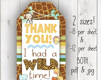 Safari favor tags, safari birthday party gift tags, jungle thank you tags, wild one favor tags, wold one party ideas, safari first birthday