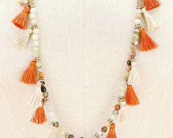 Multi Color Beaded Tassel Long Necklace