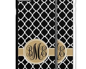 Black Lattice Monogrammed Iphone Case 5 6 7 Galaxy S4 S5 S6 S7 Cover Personalized 5S SE Plus Custom Quatrefoil