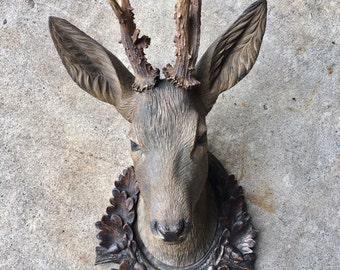 Wood Carved Deer Stag Head  19th Century