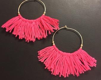 Fringe hoop earrings- Sterling silver hoop earrings - 14k gold fill hoop earrings - Tassel earrings - swipe left for 31 colors options