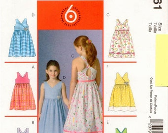 McCall's UNCUT Pattern M4761 - Girls Summer Dresses with Neckline and Strap Variations, Self-Line Bodice, & Gathered Skirt - 10-14