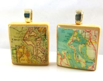 Whidbey Island, Washington - Choice of 1895 or 1939 vintage Scrabble tile map pendant