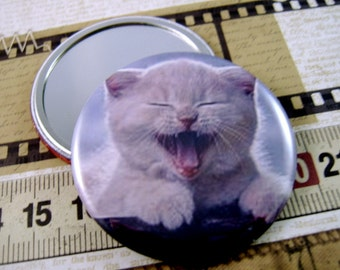 Pocket Mirror Magnet Pin Cat Lovers Gift
