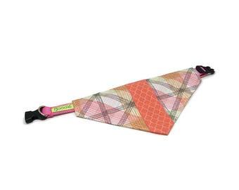 GOOOD Dog Collar (Small Sz)   Center Scarf - Coral Sea   100% Rainbow Lines & Coral Fabric