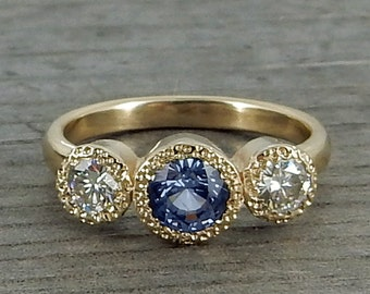 Purple Sapphire Ring - with Moissanite and Recycled 14k Yellow Gold - Three Stone Engagement, Wedding, or Any Occasion Ring - size 6.25