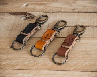 Leather Key Fob, Leather Keychain, Leather Keyring - Hand stitched Leather Keyring in Dark Oak