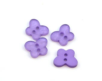 4 buttons purple resin Butterfly