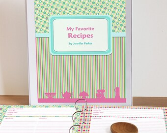 Printable Recipe Binder Set, Editable PDF Cookbook Recipe Pages, Instant Download