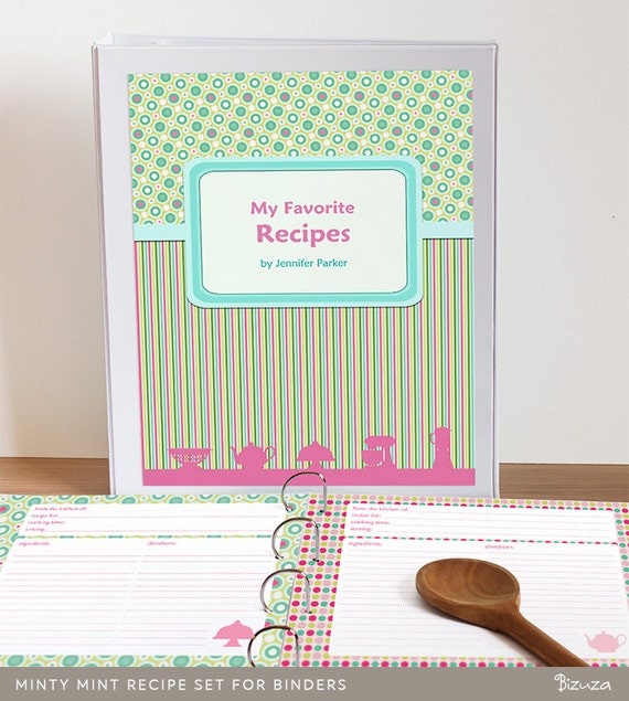 Printable Cookbook Cover : Printable recipe binder set editable pdf cookbook