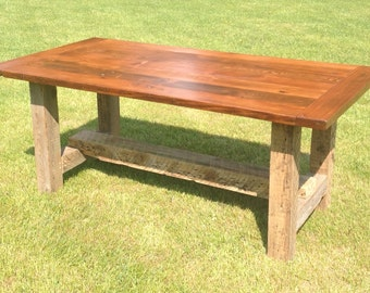 Pine Barnwood Farm Style Dining Room Table