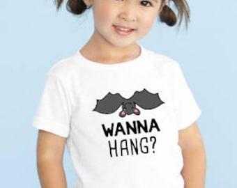 Wanna Hang Halloween Shirt ~ Kid's Halloween Shirt ~ Cute Halloween Shirt