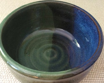 blue and green ceramic pottery bowl- prep bowl- stoneware- dish-handmade pottery- soup bowl - serving dish -in stock