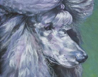 Standard Poodle portrait CANVAS print of LA Shepard painting 11x14 dog art