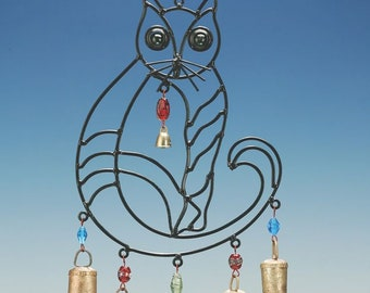 Big Kitty with beads and bells wind chimes, cat lover,hippy, bohemian