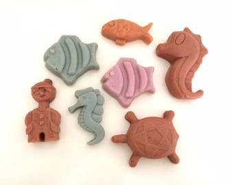 Crafted marine soap whale, Alice, fish, star and sea Horse with extra virgin olive oil, lavender and vanilla, pink.