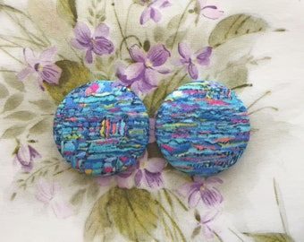 Fabric Covered Button Earrings / Blue Abstract / Statement Jewelry / Small Gifts for Her / Wholesale Stock / Abstract Floral Print / Bulk