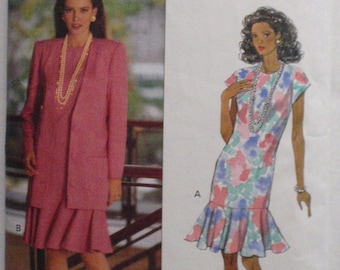 Misses/Misses Petite Jacket and Flounced Dress - Fast and Easy Sewing Pattern - Butterick 5987 - Sizes 12-14-16, Bust 34 - 38