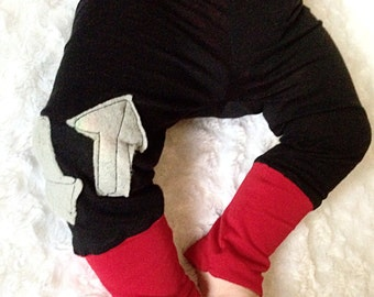 Baby girl black & red arrown cotton lounge pants // Made to order