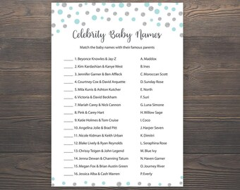 Silver and Blue Baby shower games, Celebrity baby name game, Boy baby shower, Printable blue baby shower game, Celebrity baby names, S010