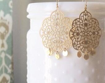 LOLA | Gold Fringe Earrings | Gold Filigree + Fringe Earrings | Gold Boho Earrings Gold | Gold Filigree Earrings | Gold Fringe Earrings
