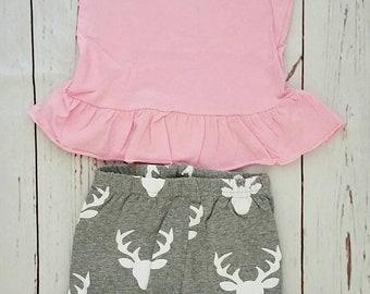 Ohhh deer/Toddler girl/country girl/summer/spring/deer girl outfit/photo prop/birthday/deer birthday/country girl birthday/girl boutique set