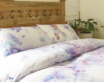 READY to SHIP Amethyst Hand Dyed Bedding, Shibori Bedding, Duvet Cover and Two Pillow Cases, Twin, Queen and King, Anna Joyce, Portland, OR