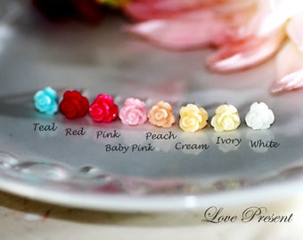 Cutie Sweet Teeny Tiny Rose Cartilage Stud Earrings Post - Small. Little. Mini. Petite Earrings - Choose your color