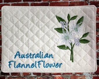ITH Flannel Flower Mugrug 5x7 and 4x4 Flannel Flower Design Machine Embroidery Australain Flannel Flower
